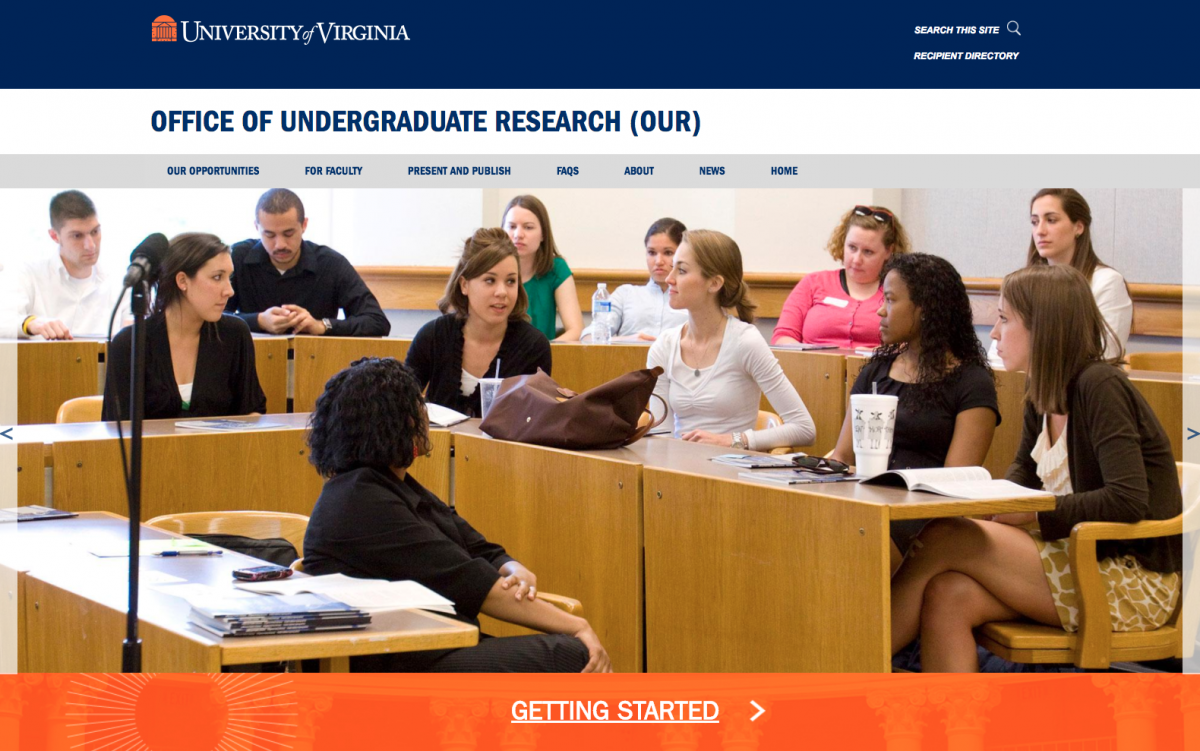 Screen Shot of Undergrad Research Site